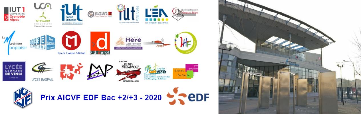 Les établissements inscrits au PRIX AICVF EDF BAC +2/+3 - 2020
