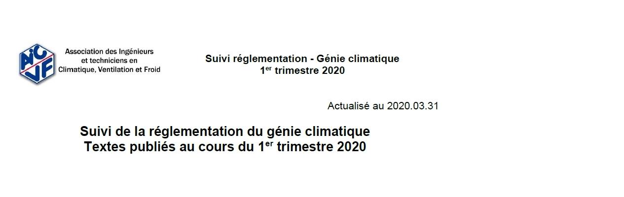 Suivi de la réglementation - 1er trimestre 2020