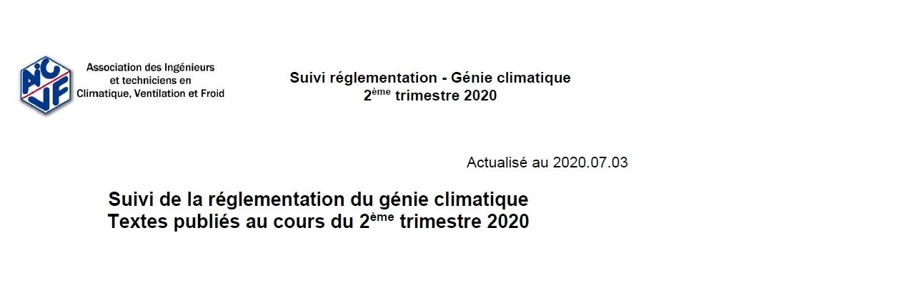 Suivi de la réglementation - 2ème trimestre 2020