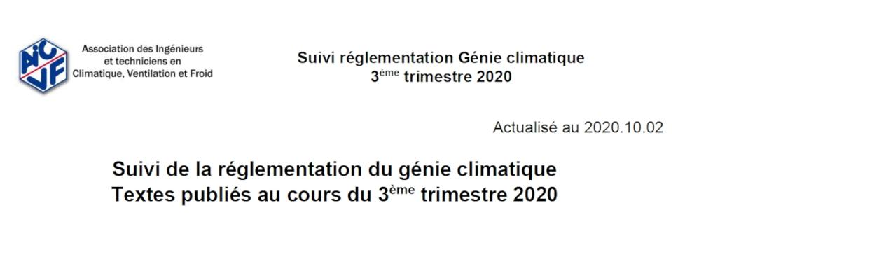 Suivi de la réglementation - 3ème trimestre 2020