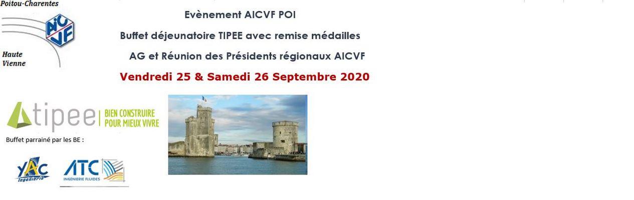 AG AICVF 25 SEPTEMBRE ET REUNION PRESIDENTS REGIONAUX AICVF 26 SEPTEMBRE 2020 LA ROCHELLE