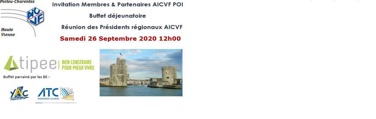 AG AICVF 25 SEPTEMBRE & REUNION PRESIDENTS REGIONAUX AICVF 26 SEPTEMBRE 2020 LA ROCHELLE